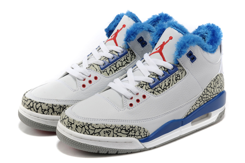 New Air Jordan Retro 3 Wool White Blue Grey Cement