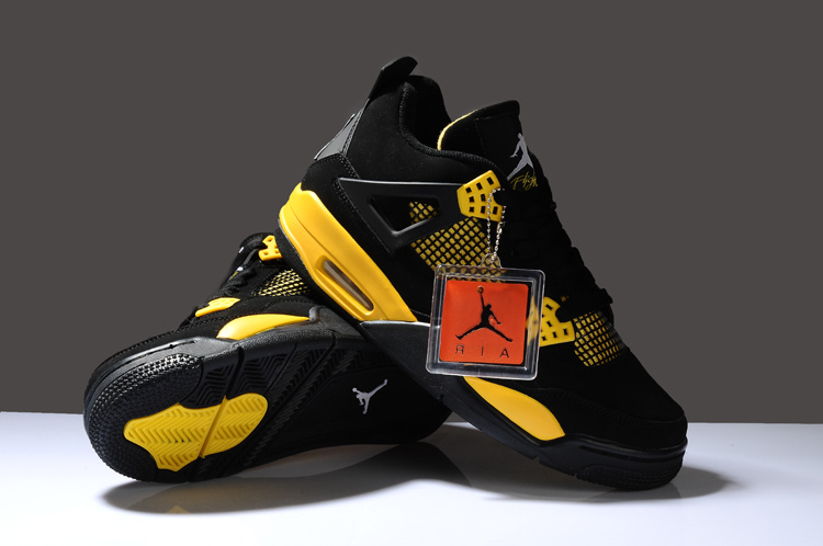 New Air Jordan Retro 4 Black Yellow