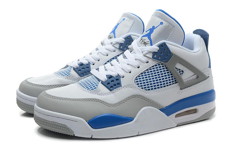 Cheap Real 2015 Jordan Jordan 4 White Grey Baby Blue