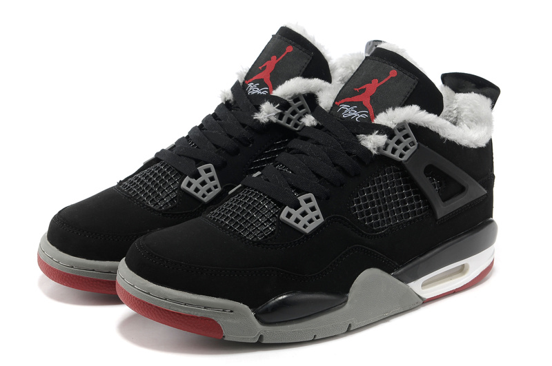 New Air Jordan Retro 4 Wool Black Grey Red