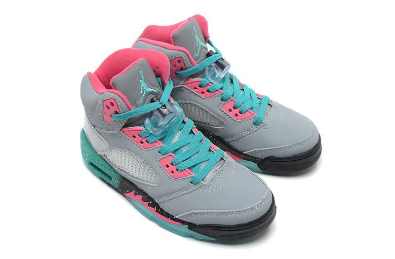 Cheap 2015 Air Jordan 5 Retro Grey Pink Green Shoes For Women