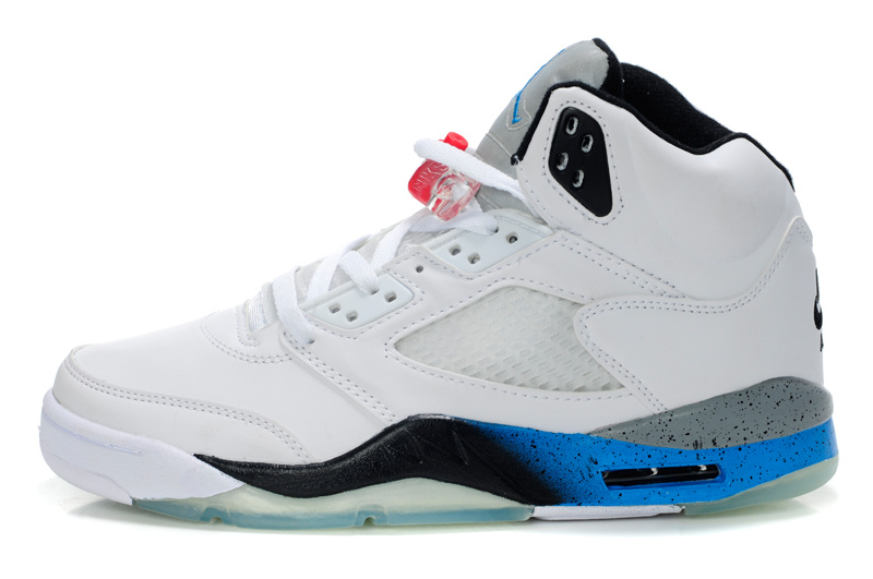 New Air Jordan Shoes 5 White Black Blue