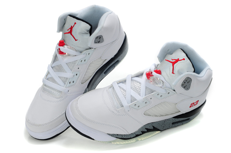 New Air Jordan Shoes 5 White Grey