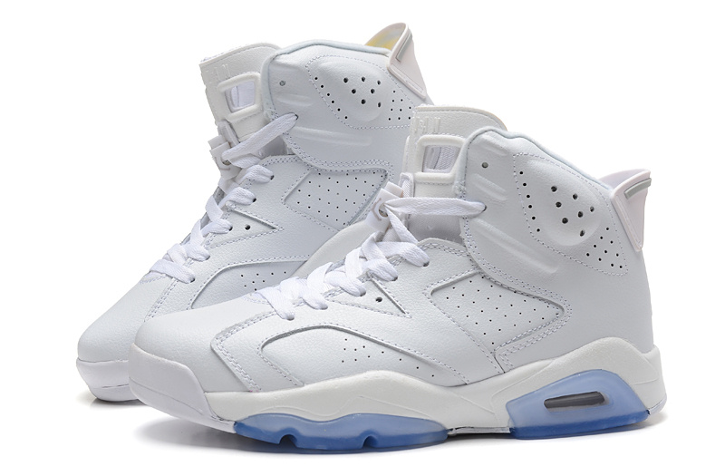 Cheap Real 2015 Jordan Jordan 6 All White Light Blue Sole