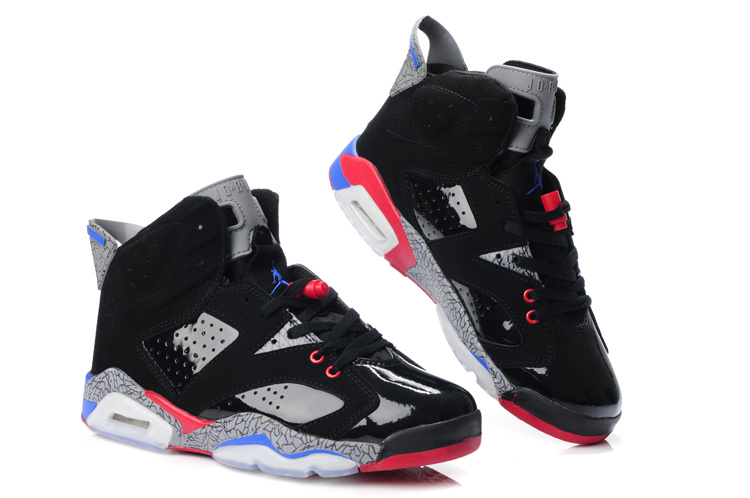 New Air Jordan Shoes 6 Black Grey Red Blue