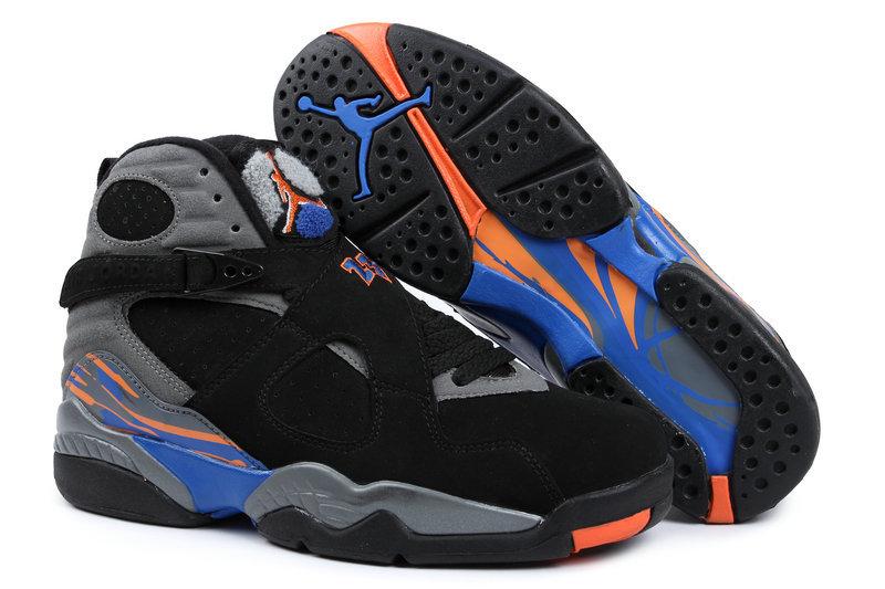 Real Jordan 8 Retro Black Grey Blue Orange Shoes