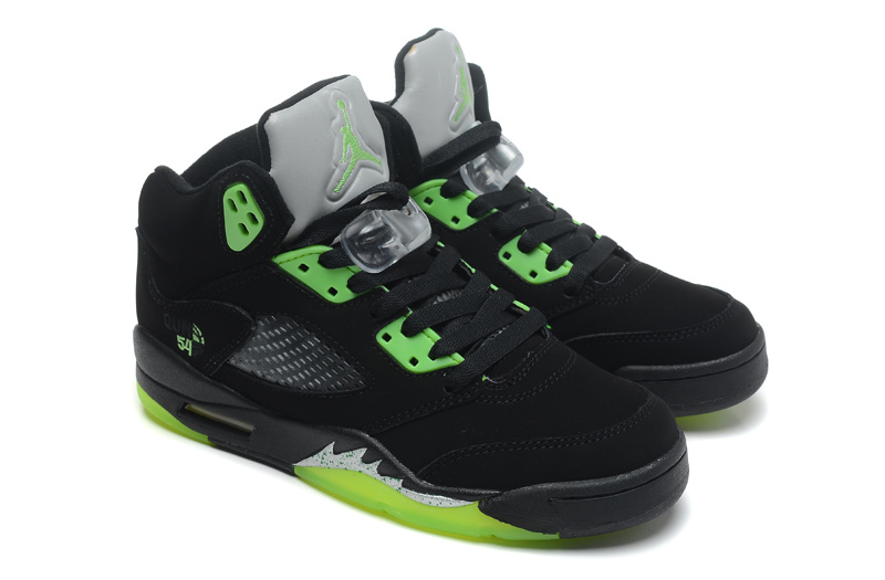 Real Jordan 5 Retro Black Green