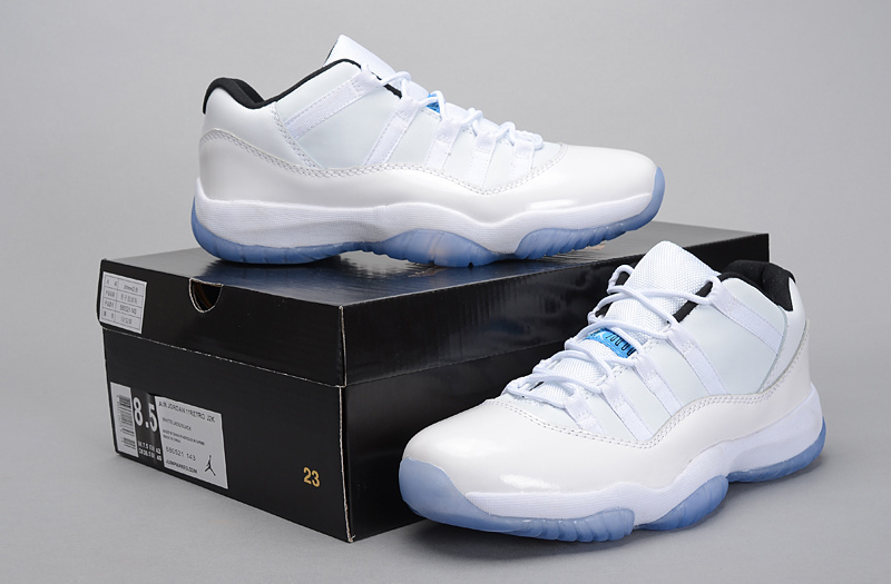 Real Jordan 11 Low 2015 Legend White Blue Shoes