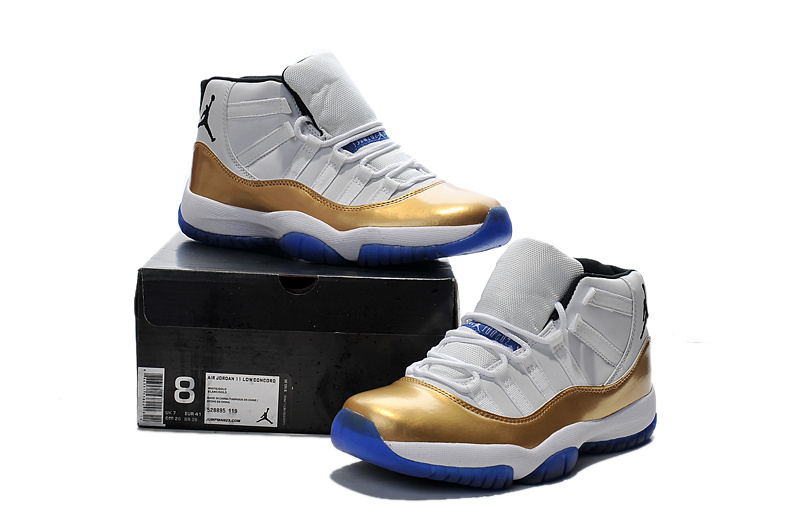 Real New Jordan 11 White Gold Blue Sole Shoes