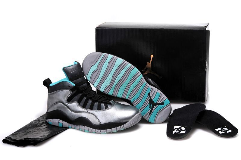 Real Silver Black Blue Jordan 10 Retro Bulls Over Broadway Shoes
