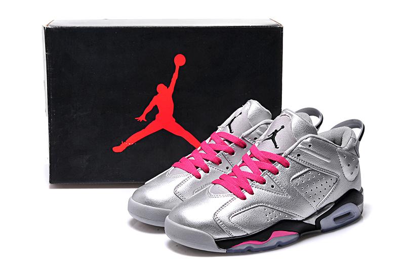 2015 Silver Pink Black Jordan 6 Low Lovers Shoes
