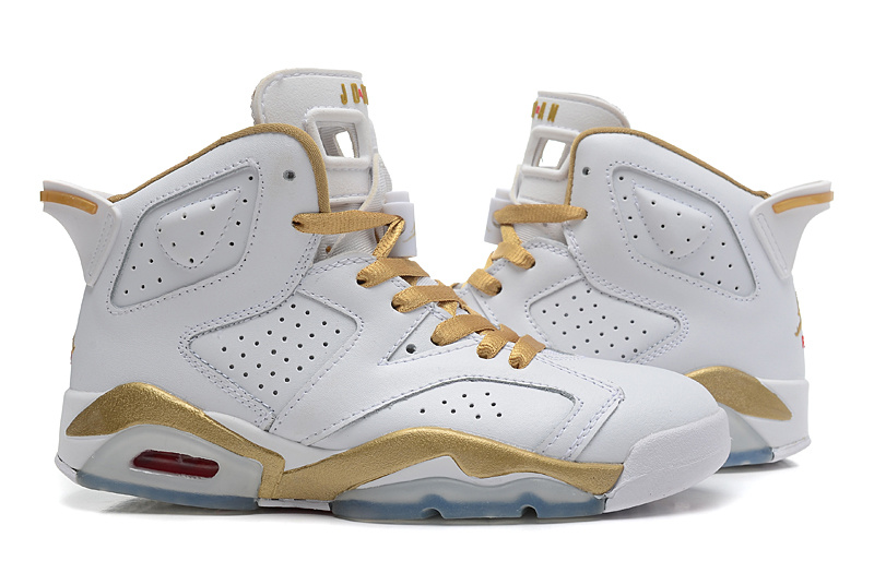 2015 Real White Gold Jordan 6 GS Shoes