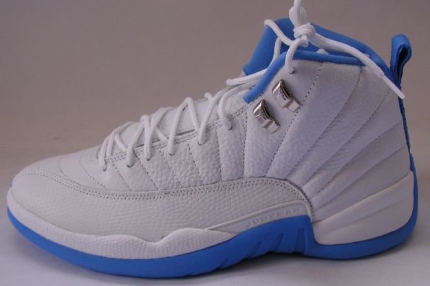 Cheap Air Jordan Shoes 12 Retro Melo White University Blue Metallic Silver