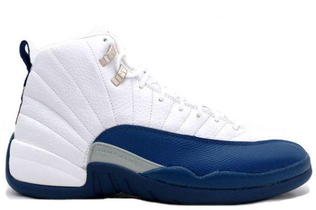Cheap Air Jordan Shoes 12 Retro White French Blue Metallic Silver Varsity Red