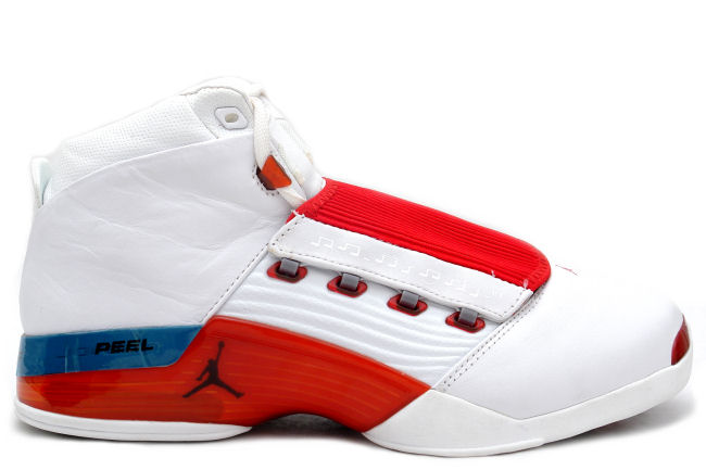 Cheap Air Jordan Shoes 17 Original White Varsity Red Charcoal