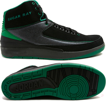 Cheap Air Jordan 2 Shoes Black Green Chrome