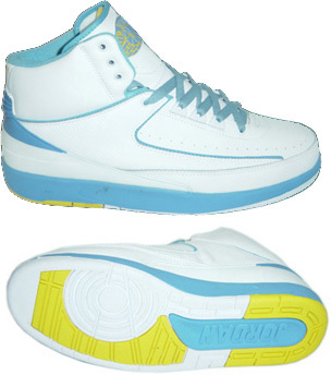 Cheap Air Jordan 2 Shoes White Light Blue Yellow Chrome
