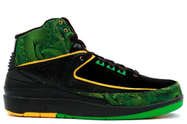 Cheap Air Jordan 2 Shoes Retro Doernbecher Charity Black Pro Gold Lucky Green
