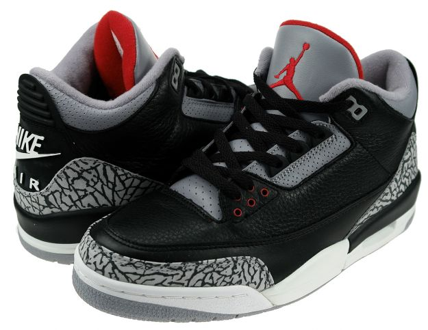 Cheap Air Jordan Shoes 3 Retro 2001 Black Cement Grey
