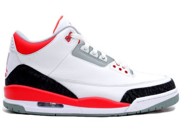 Cheap Air Jordan Shoes 3 White Fire Red Cement Grey