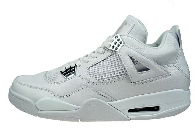 Cheap Air Jordan Shoes 4 Retro Pure Money White Metallic Silver