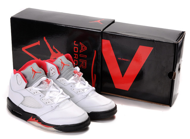 Cheap Air Jordan Shoes 5 Retro Hardcover Box White Black Red