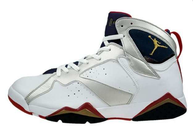 Cheap Air Jordan Shoes 7 Retro Olympics White Metallic Gold Navy True Red