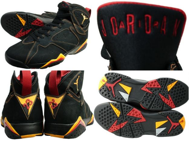 Cheap Air Jordan Shoes 7 Retro Black Citrus Varsity Red