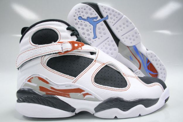 Cheap Air Jordan Shoes 8 Retro White Anthracite Dark Orange