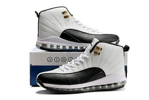 Cheap Air Cushion Jordan 12 White Black Shoes