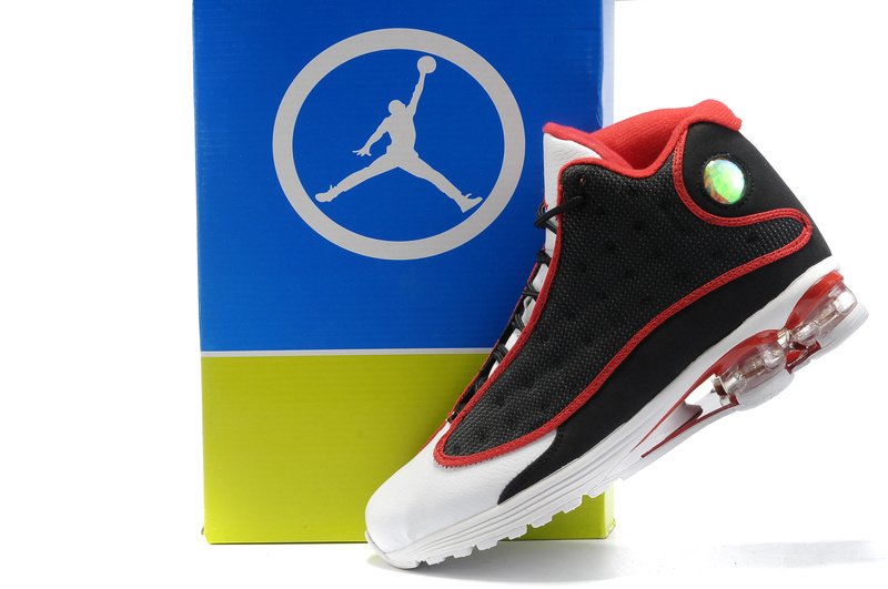 Cheap Air Cushion Jordan Shoes 13 Black White Red Shoes