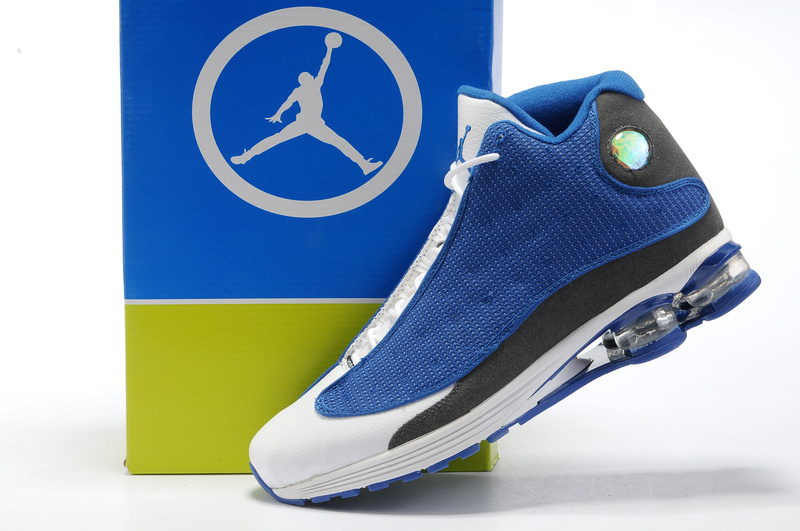 Cheap Air Cushion Jordan Shoes 13 Blue White Grey Shoes