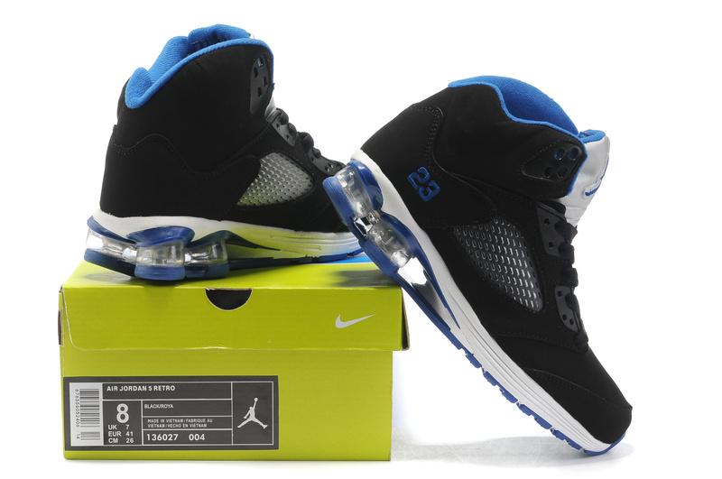 Cheap Air Cushion Jordan Shoes 5 Black White Blue Shoes