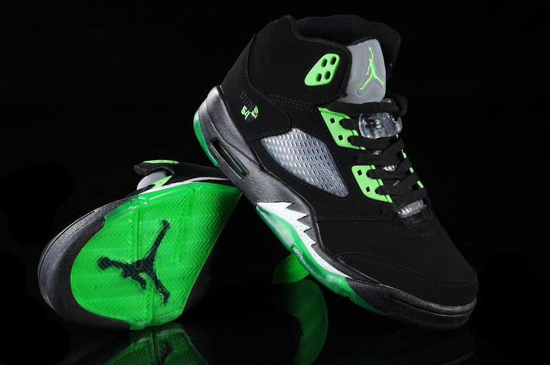 New Air Jordan Shoes 5 Black Green White