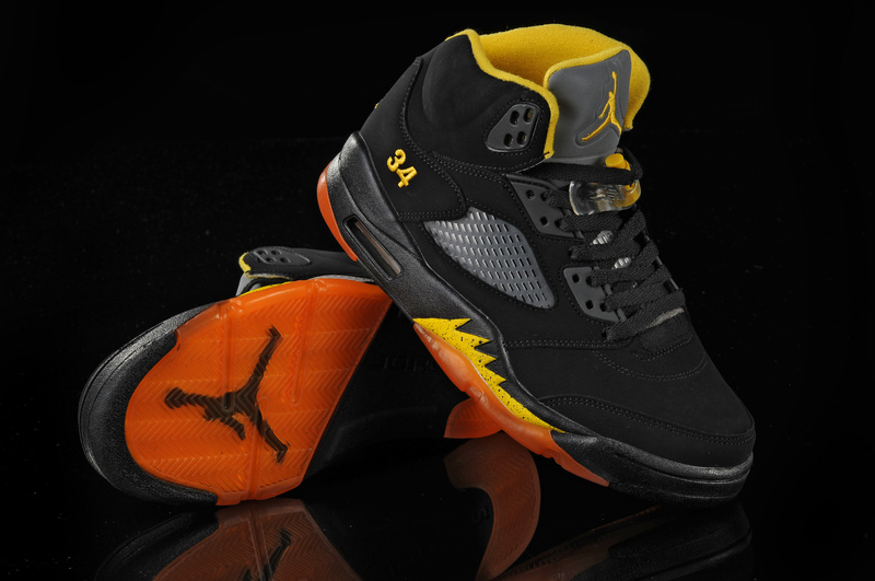 New Air Jordan Shoes 5 Black Orange Yellow