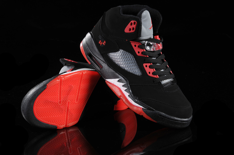 New Air Jordan Shoes 5 Black Red White