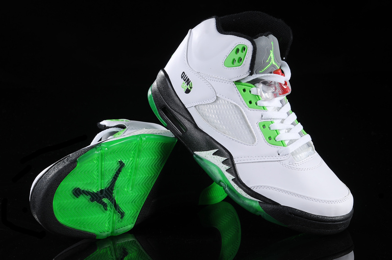 New Air Jordan Shoes 5 White Green White
